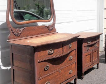 Antique Bureau with mirror and cabinet Tiger eye oak