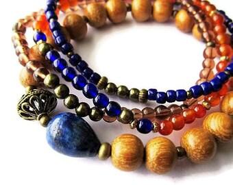 Wood, Glass and Stone Bohemian Beaded Bracelet Set. Hippie Boho Jewellery.