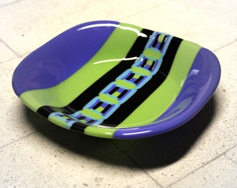 Dark Blue Violet and Avacado Green with Pattern Bar Fused Glass Bowl