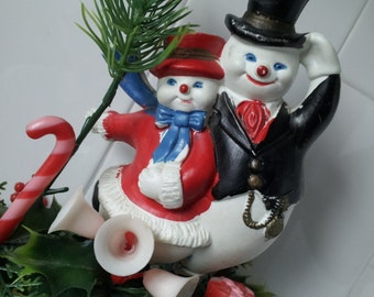 Vintage Plastic Snowman and Snowlady On Base