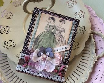 Victorian Sister Card - Handmade Card for Sister - Sister Birthday - avantcarde.etsy.com