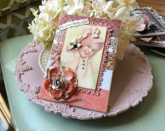 Vintage Style Baby Girl Card - Vintage Look Baby Card - Welcome New Baby