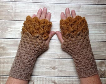 Brown and Gold Dragonscale Fingerless Arm warmer Winter Gloves