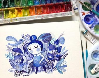 Spring Blues... original watercolor... 7 in x 10 in...