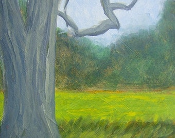 Impressionist Realism Original Acrylic Landscape Rural Tree Painting Home Decor Sale Free Shipping