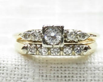 Vintage 14k Gold Diamond Engagement Ring and Wedding Band Set .34 Carats