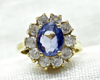 Vintage 18k Gold and Tanzanite Diamond Halo Ring 3.20 Carats