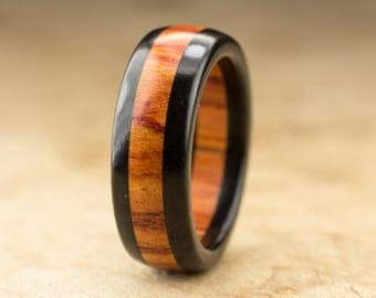 Size 7 - Ebony Tulipwood Ring - 7mm