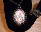 "Marie Antoinette Pendant Necklace Art Bubble Cameo 24"" Chain Antique Bronze"