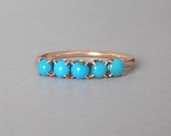 Victorian Turquoise Ring.  Five Stone Row. Robins Egg Blue Imitation. Size 6.25