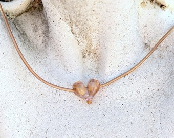 Glass Heart Necklace, Copper Rose, Copper Pink, Rose Gold, Bohemian Leather, Blush Pink Necklace