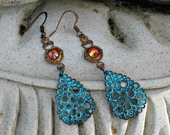 Bohemian Chandelier Earrings, Aqua, Sunset Orange, Hippie Earrings