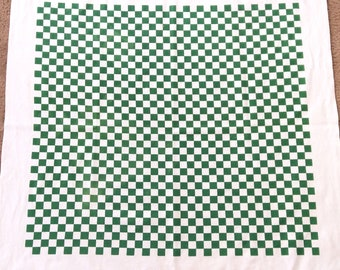 Artex Tablecloth Green and White Checked Cotton with Tag