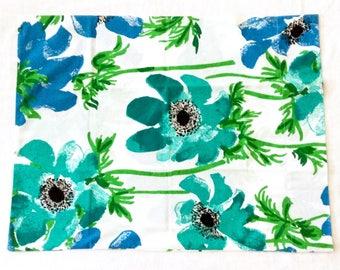 Vera Queen Pillowcase Poppies Blue Green Flowers Homemade