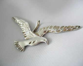 "Bird in Flight Pendant, Sterling Silver, Wing Span, Engraved, Patina, 1970s, 2"" wide, Seagull, Soaring"
