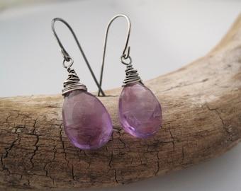 Amethyst Earrings = Briolette Drops- Purple Earrings - Birthstone Jewelry - Amethyst Jewelry