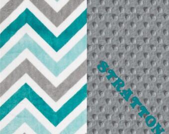 Minky Baby Blanket Boy,  Personalized Baby Blanket // Topaz Teal Blue Gray Chevron Stroller - Double Minky Blanket