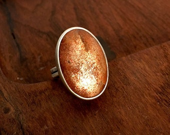 Sterling Ring with Sunstone Cabochon - Oval