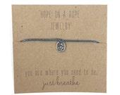 Breathe.  Sterling Silver Hand Stamped Om Symbol on Bracelet Cord. Stocking stuffer for the yoga lover.