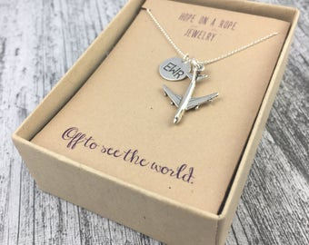 Travel Necklace - Sterling Silver Airplane Necklace - Airport Code Necklace - Necklace for Traveler - Pilot Jewelry - Gift for Traveler