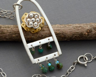 Sterling silver brass gold flower necklace, genuine turquoise wire wrapped beaded pendant, botanical nature artisan unique handmade jewelry