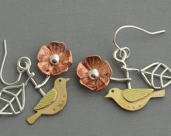 Sterling silver gold sparrow earrings flower dangle silver leaf earrings nature jewelry mixed metal artisan handmade bird jewelry unusual