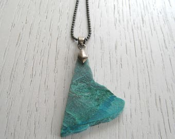 Natural Freeform Shaped Chrysocolla Slab Pendant