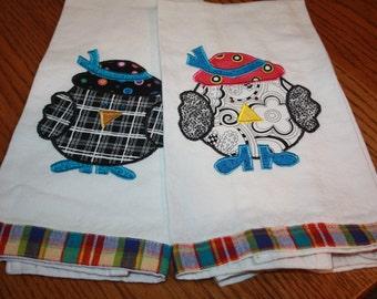 Crazy Birds Kitchen Towels Set