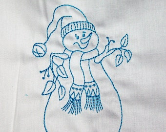 Redwork Snowman Set A machine Embroidered Quilt Blocks