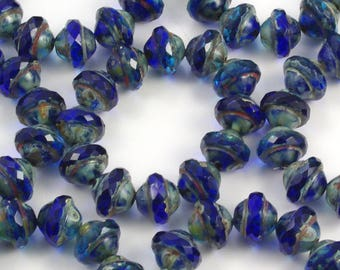 Deep Blue Picasso Faceted Saturn Beads 8x10mm - 12