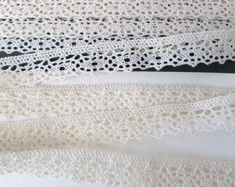 Vintage Trim Cluny Lace Ivory Off White Cotton 15/16 inch rib0260 (1 yard)