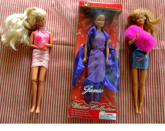 3 Dolls - 1 Jamie, Winter Collection - 2 Unknown Barbie Like