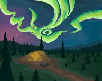 Northern Lights | A scenic landscape of a tent during a disply of Aurora Borealis