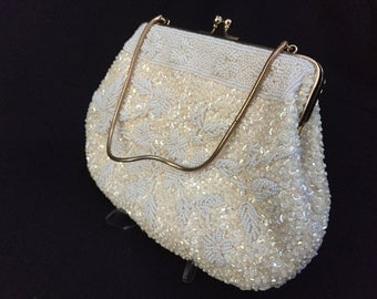 Vintage Ivory Bead & Sequins Purse with Floral Motif
