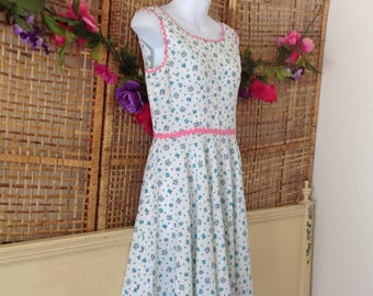 Vintage 50's 60's Blue Rose Cotton Day Dress Pink Rick Rack Trim Full Skirt