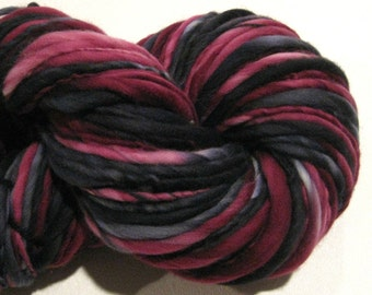 Bulky Handspun Yarn, Pinot Noir 120 yards, thick n thin hand dyed merino wool burgundy black yarn knitting supplies, crochet supplies