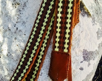Cotton Tablet Woven Powder Horn Strap in browns and yellow