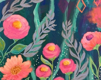 Colorful Bright Flower Painting, Boho Art, Pink, Coral, Purple, Turquoise, Gray, Green, Peach, 11x14 Original Painting, Whimsical Flowers