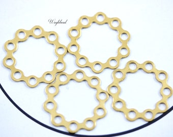 20mm Raw Brass Rings Circles Links Connectors with Ten Holes - 8