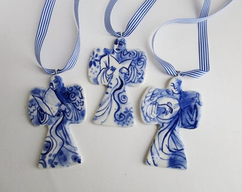 Blue Choir Angel - Ornament - Hand painted blue and white Delftware porcelain