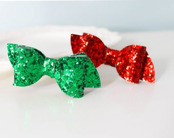 Christmas Glitter Hair Bows, Sparkle Red And Green Clip, Sparkly Christmas Bow, Holiday Sparkle Hair Clip, Christmas Glitter Bow Set