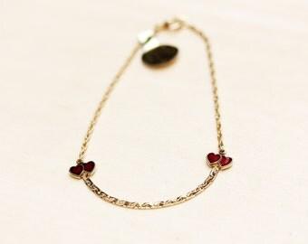 Vintage Tiny Red Hearts Chain Bracelet