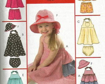 McCalls 5084 UNCUT Toddler Girls Ruffle Tiered Sundress, Bloomers and Bucket Hat Sewing Pattern Size 1-4