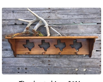 Large Wooden Shelf - Bathroom Shelf - Kitchen Shelf - Wood Shelf - Wooden Shelf - Hanging Wood Shelf - Rustic Wall Hook - Texas Decor