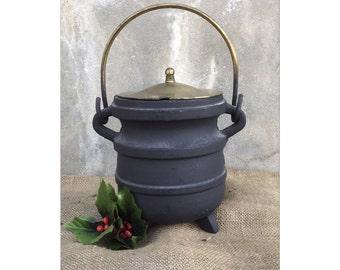 Cast Iron Pot - Cauldron - Succulent Planter - Smudge Pot - Repurpose - Rustic Decor - Primitive Decor - Chic