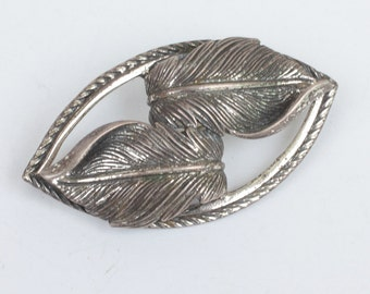 Danecraft Sterling Double Leaf Brooch Pin Vintage