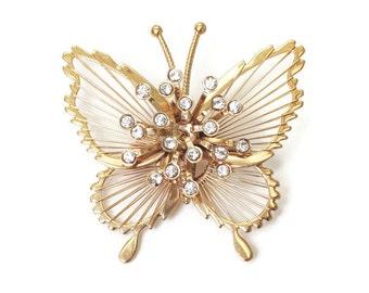Monet Spinneret Butterfly Brooch Rhinestones Gold Tone Vintage