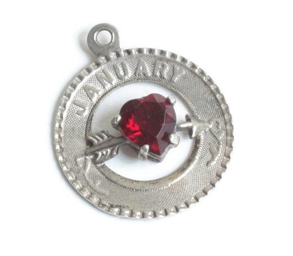 January Birthday Sterling Silver Charm Glass Garnet Bow Arrow for Bracelet
