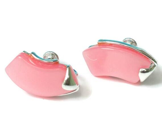 Pink Lucite Earrings Star Mark Screw Back 1950s Vintage
