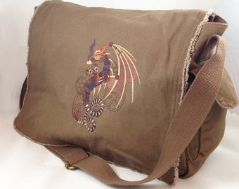 Steampunk dragon embroidery on canvas messenger bag